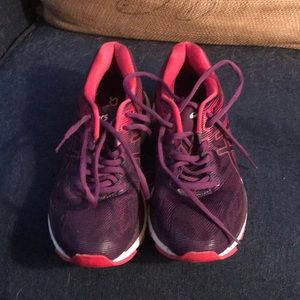 ASICS purple and pink running shoes